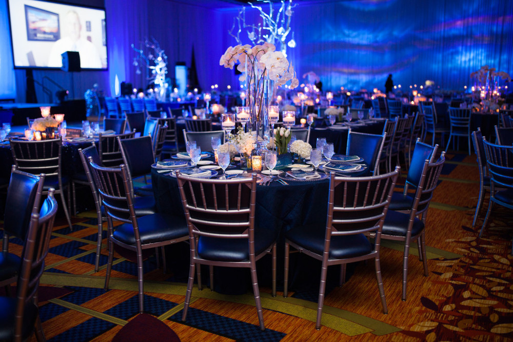 Gorgeous Silver and Blue Tablescape JW Marriott Hotel Event
