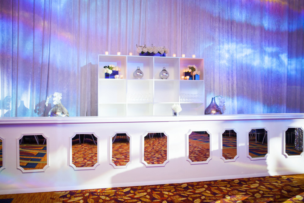 Modern Day Events & Floral White Custom Mirror Bar