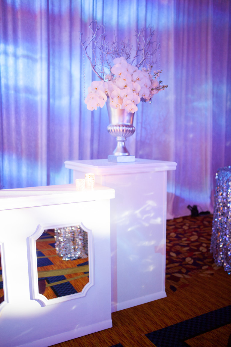 Modern Day Events & Floral White Custom Mirror Bar Orchid Arrangement