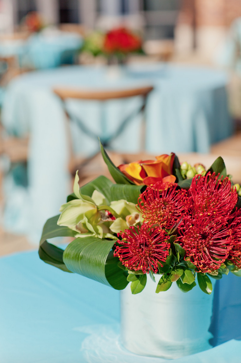 Tanger Outlet Grand Opening Blue and Red Tablescape with Flowers