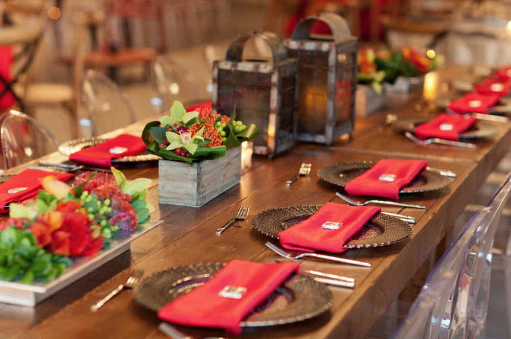 Tanger Outlet Grand Opening Table Design with Floral Arrangement