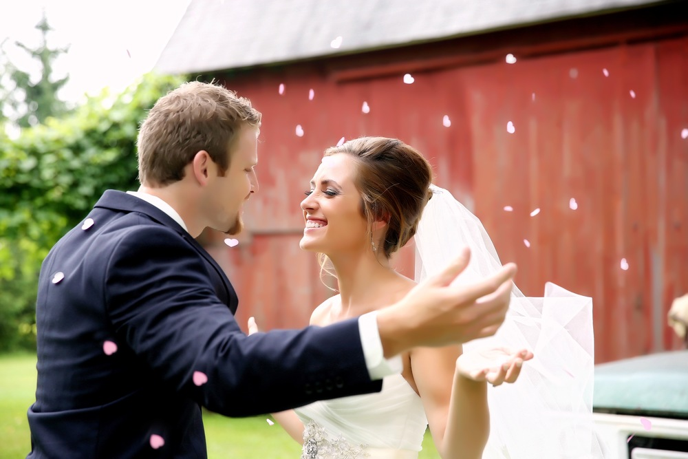 Michigan Wedding Cute Bride and Groom Photos at Barn