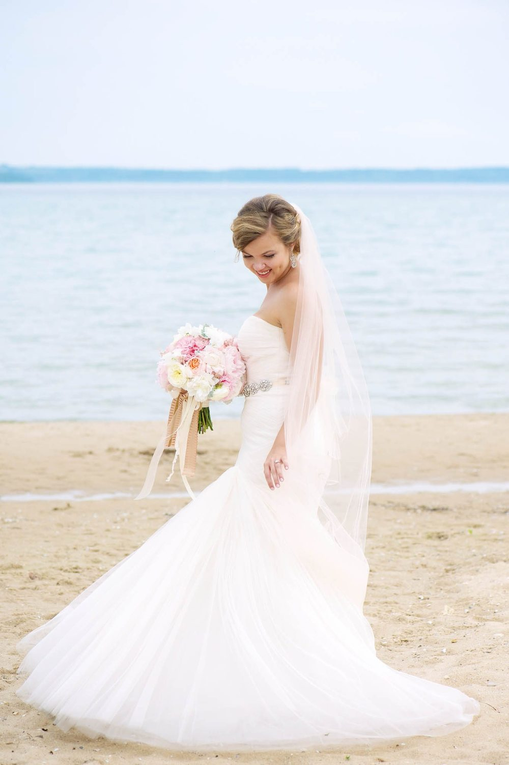 Suttons Bay Township Wedding Beach Bridal Photos