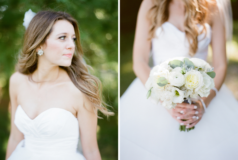 Arcadia, Michigan Outdoor Bride Photos with White Bouquet