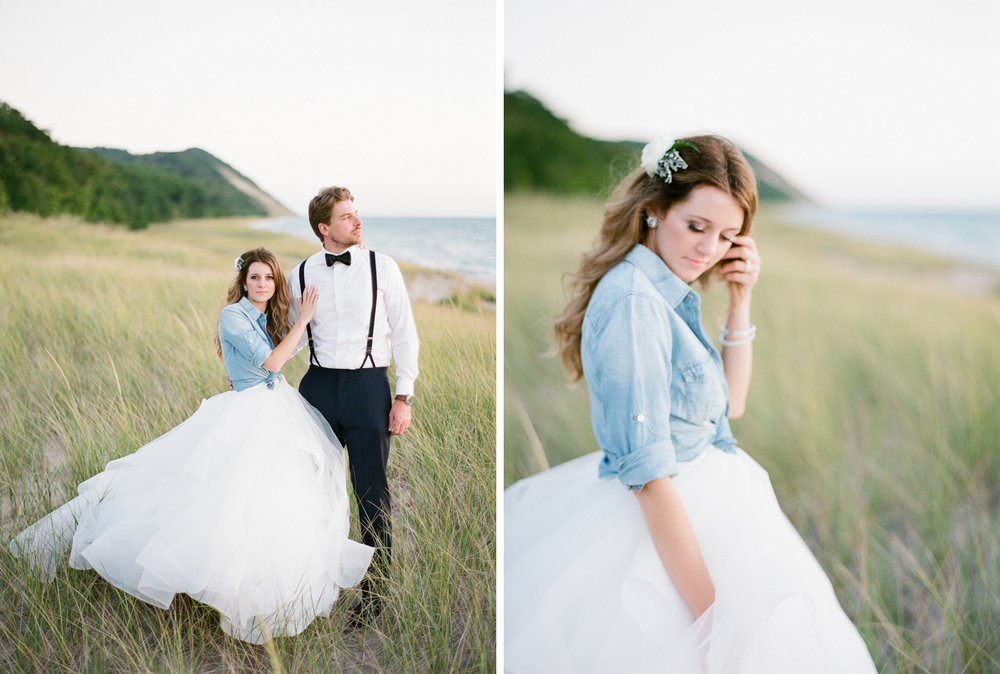Lake Michigan Sunset Bride and Groom Photos