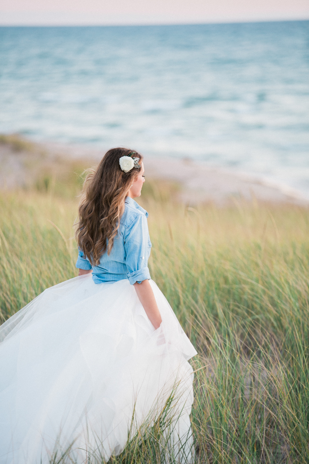 Lake Michigan Flowing Wedding Dress Photos