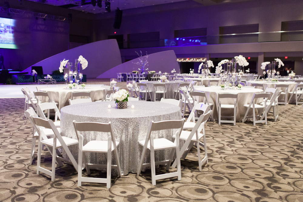 Grand Rapids, Michigan Ballroom Event with White Tables and Chairs