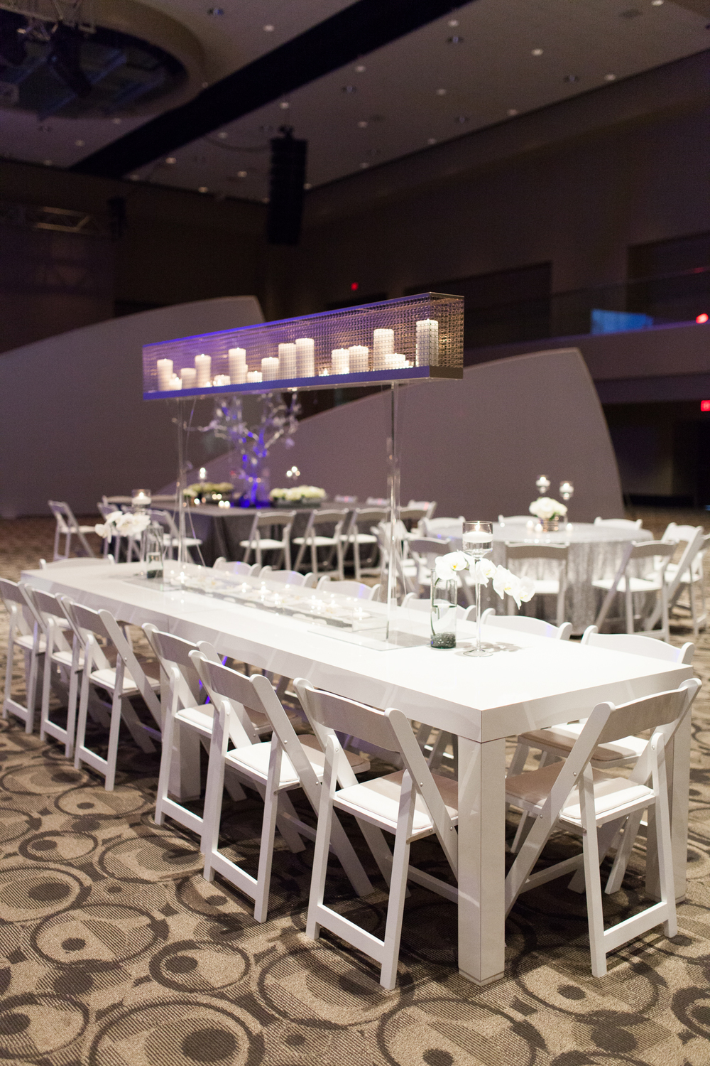Downtown Grand Rapids, Michigan Event with White Tables