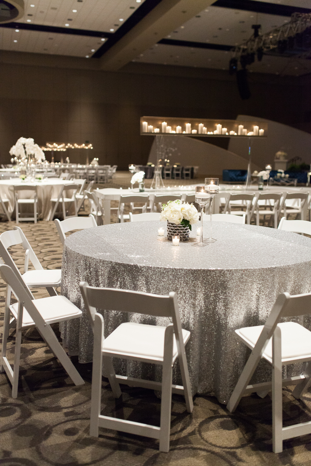 West Michigan Event Silver Linen with White Rose Arrangement