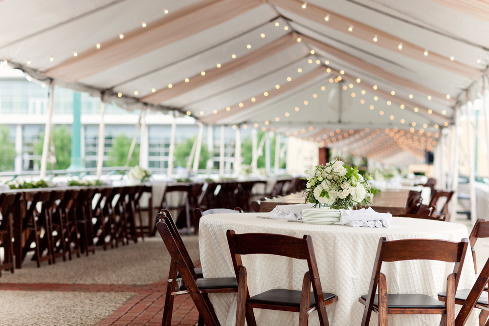 Gillette Bridge Tented Event with Farm Tables and Chairs