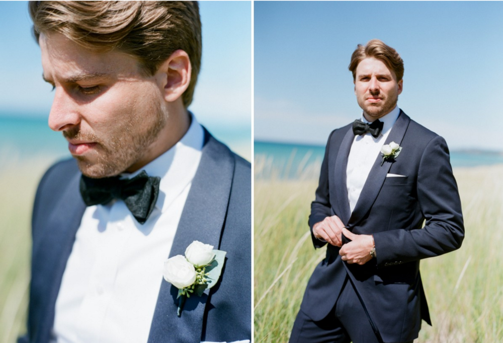 Lake Michigan Handsome Groom Wedding Photos