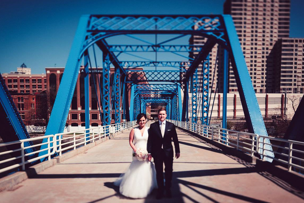 Grand Rapids, Michigan Blue Bride Wedding Photo of Bride and Groom