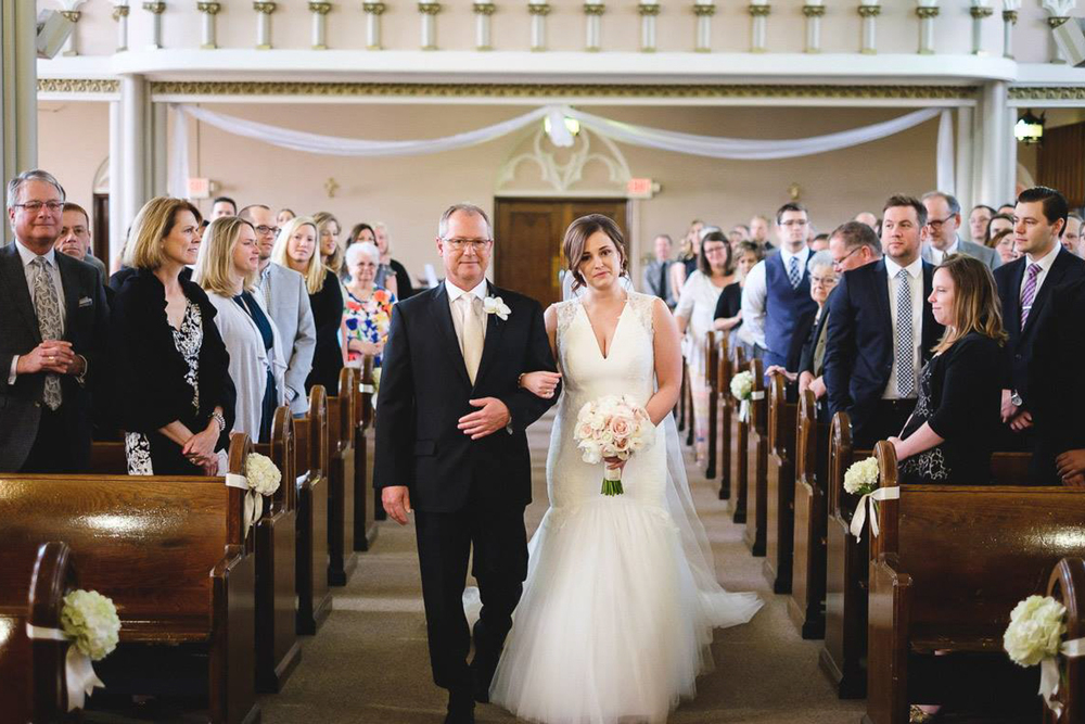 Grand Rapids, Michigan Beautiful Church Wedding White Gown