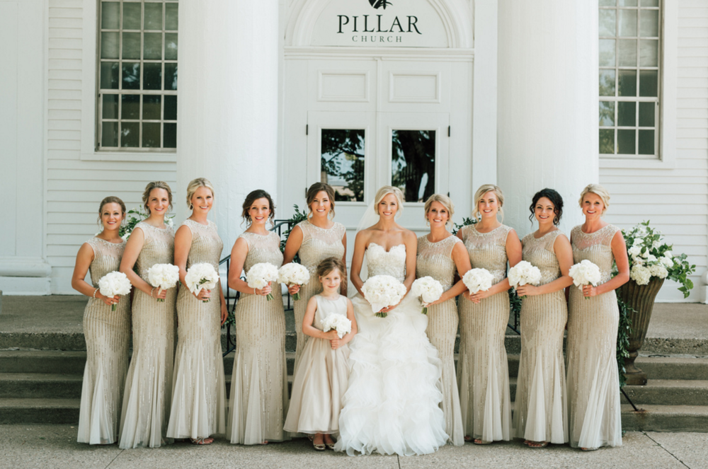 Holland, Michigan Bridesmaids Wearing Rent the Runway Gowns
