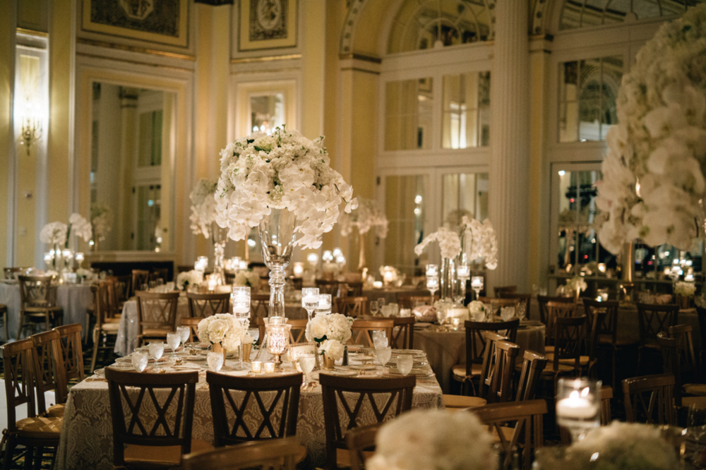 Amway Grand Plaza Hotel Ballroom Wedding Classic White Flowers