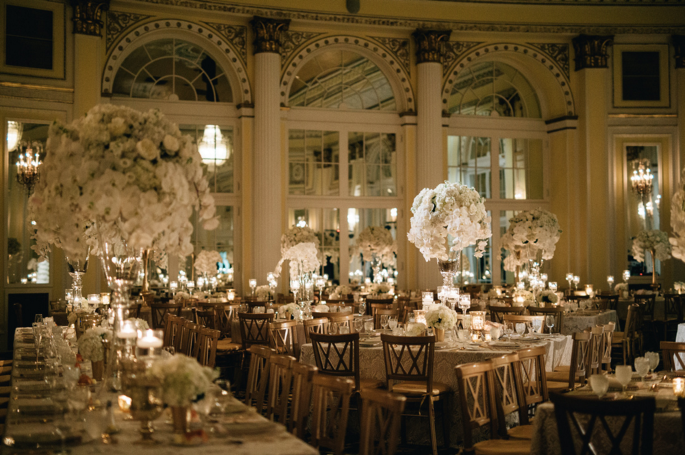 Amway Grand Plaza Hotel Gorgeous Gold and White Wedding Reception