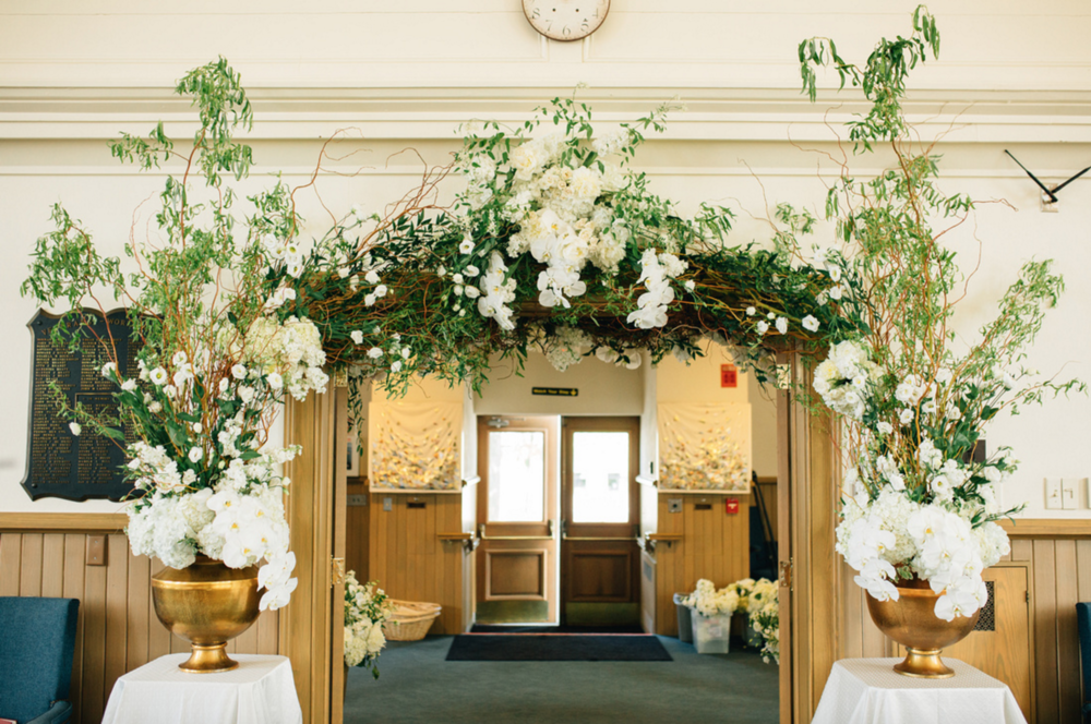 Pillar Church Wedding with Beautiful White Florals
