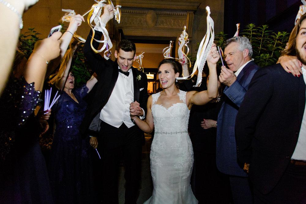 Downtown Grand Rapids Wedding Reception Sparkler Exit