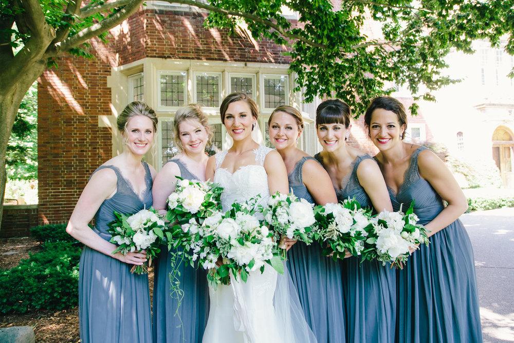 West Michigan Beautiful Bridesmaids in Blue Dresses