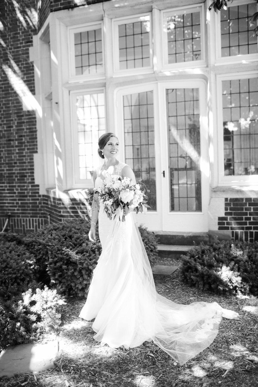 West Michigan Romantic Bride Photos Black and White