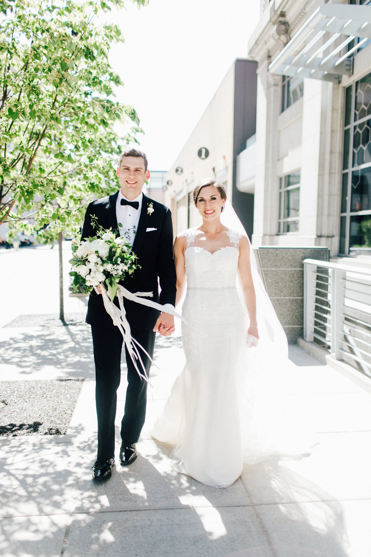 West Michigan Wedding Photos Bride and Groom Walking