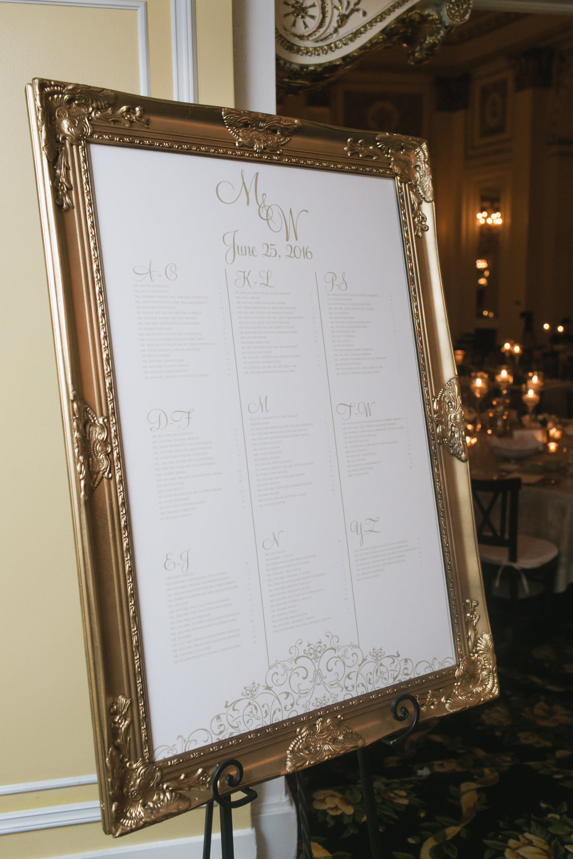 Grand Rapids, Michigan Wedding Calligraphy Seating Chart