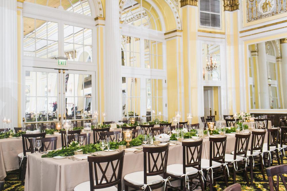 Amway Grand Plaza Ballroom Wedding Wood Farm Tables