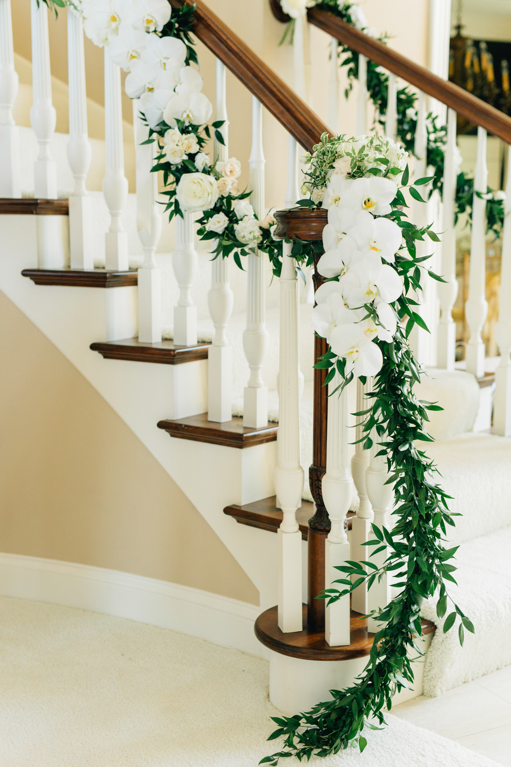 West Michigan Wedding Beautiful Staircase with Flowers