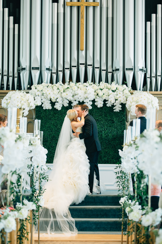 Pillar Church Wedding Ceremony Bride and Groom First Kiss Photos