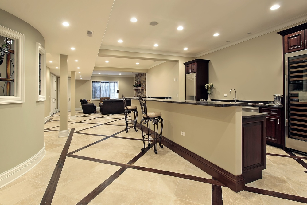Basement Finishing Ideas With Kitchen Area And Marble.