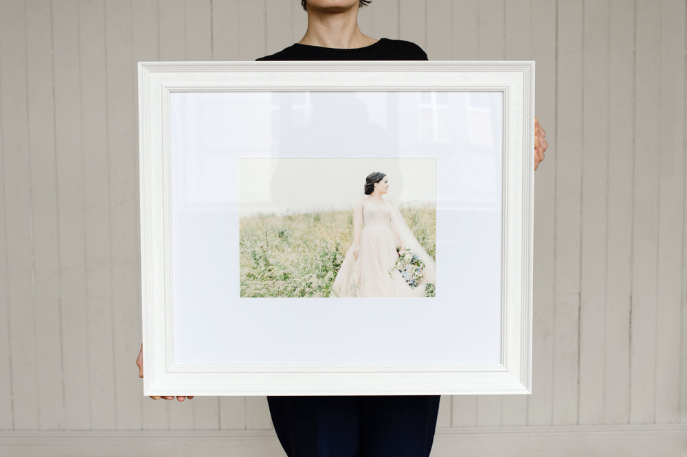 "Dunnotar, 14"" x 10"" print, white frame"