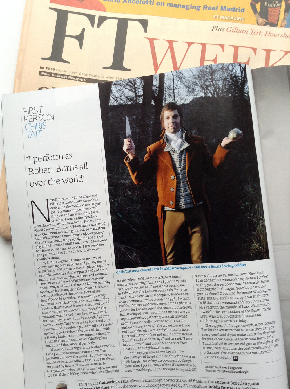 Chris Tait, Robert Burns impersonator, for the FT Weekend Magazine