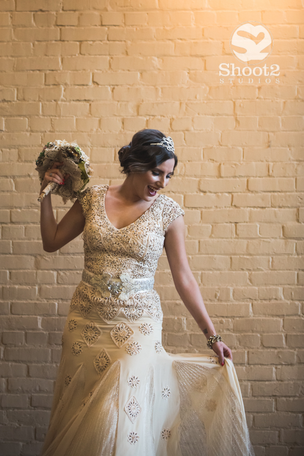 columbus bride by brick wall