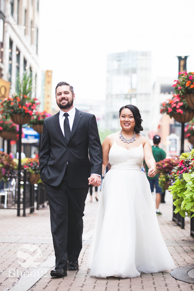 bride and groom on 4th st