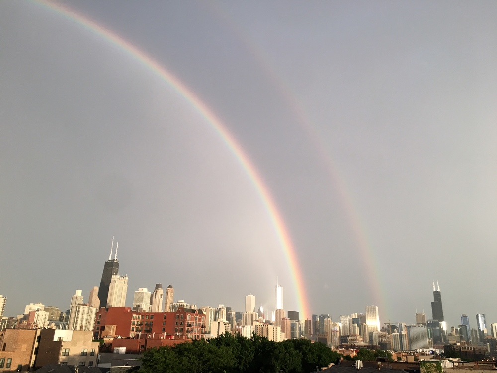 Epic summer storm generated a lovely double rainbow last week!