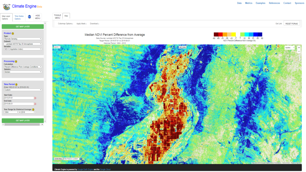 lovelock nevada NDVI landsat anomoly