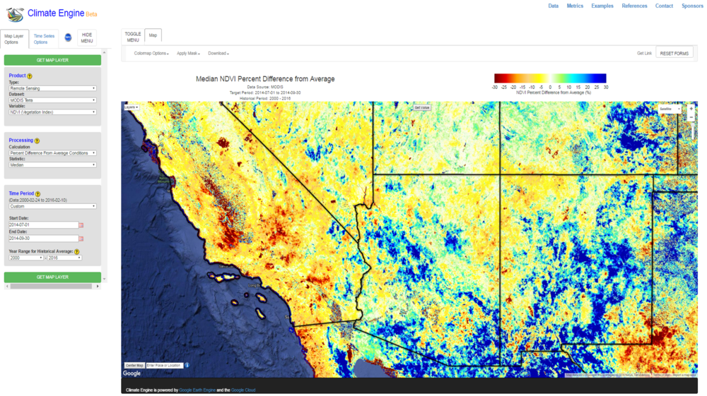 modis summer difference from average for south west us 2014