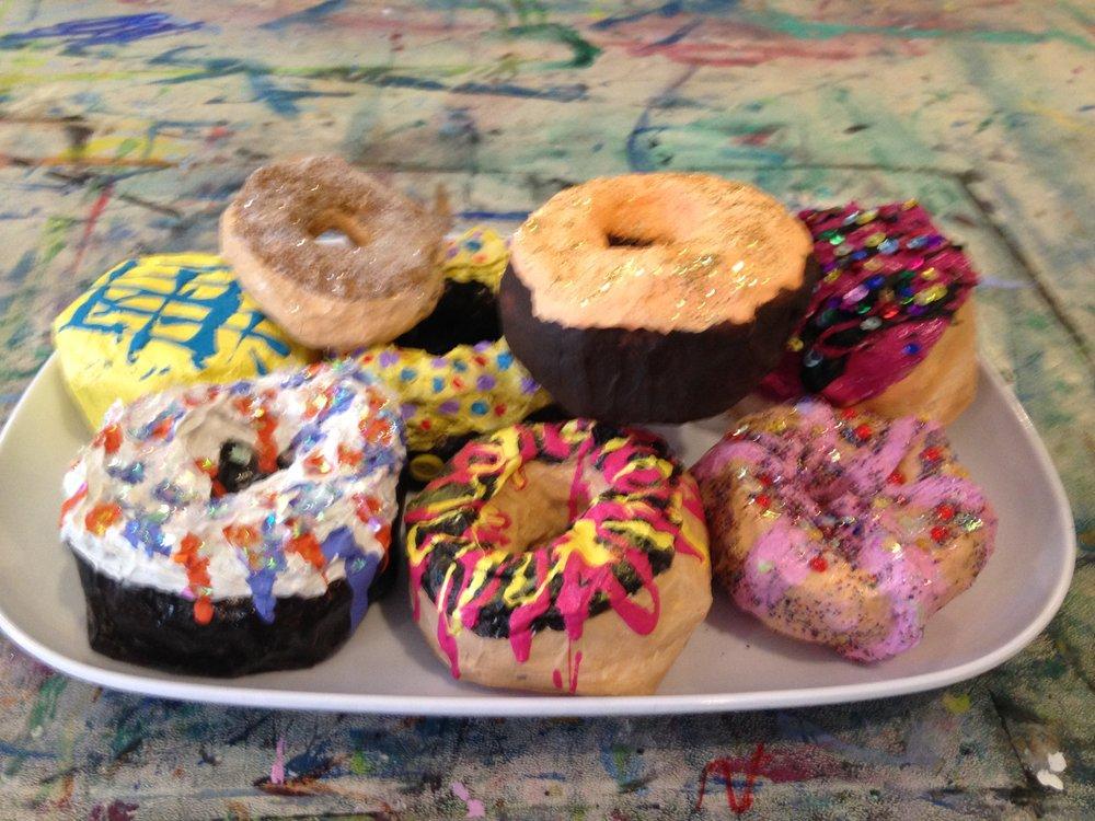 paper-mache donuts