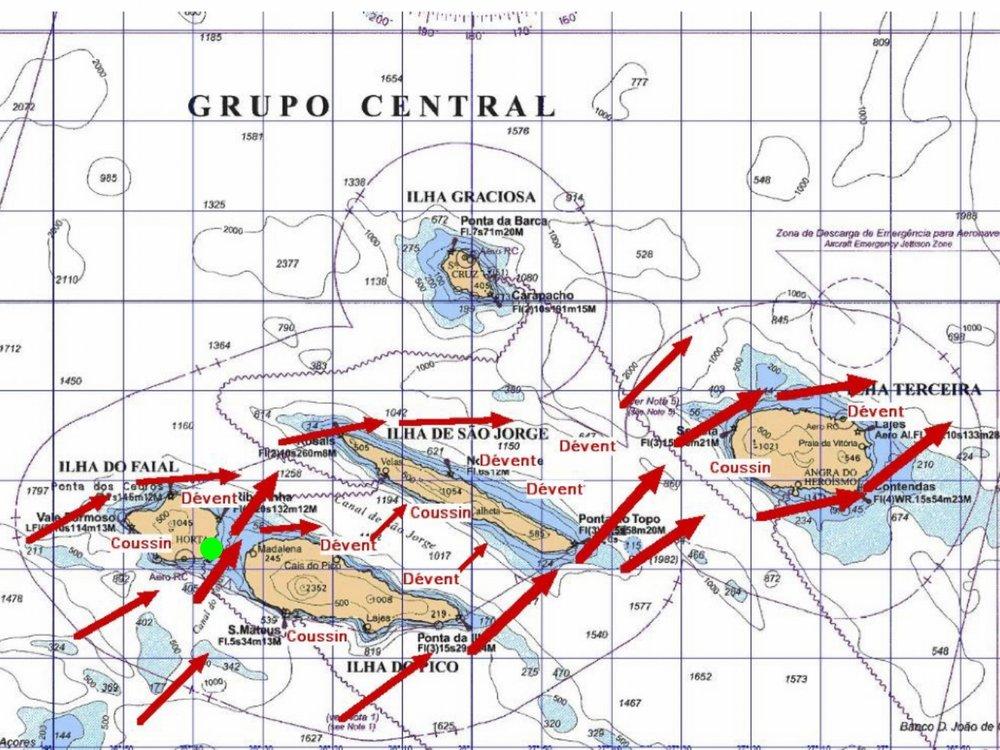 Carte de l'archipel des Açores (groupe central) avec le port de Horta (en vert)