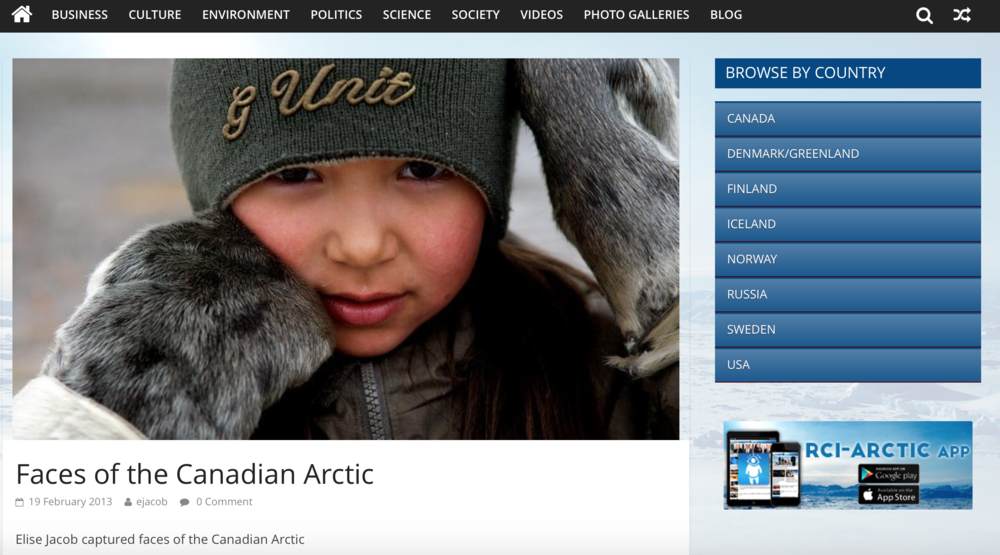 CBC.CA website: Faces Of The Canadian Arctic