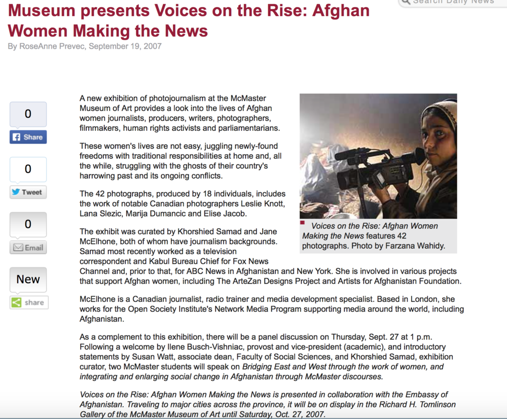 McMaster Museum Of Art: Voices On The Rise - Afghan Women Making The News