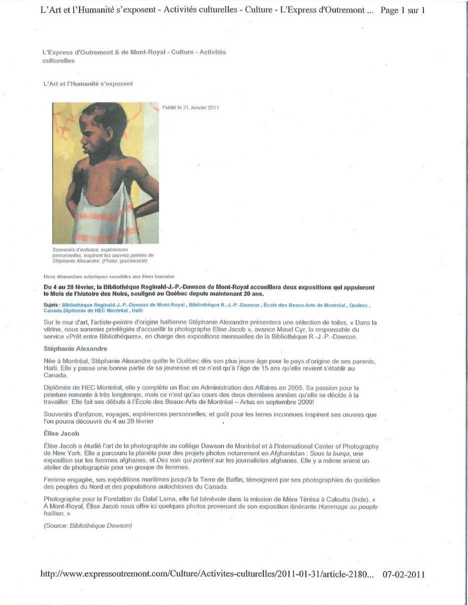 L'Express d'Outremont: L'Art et l'Humanité