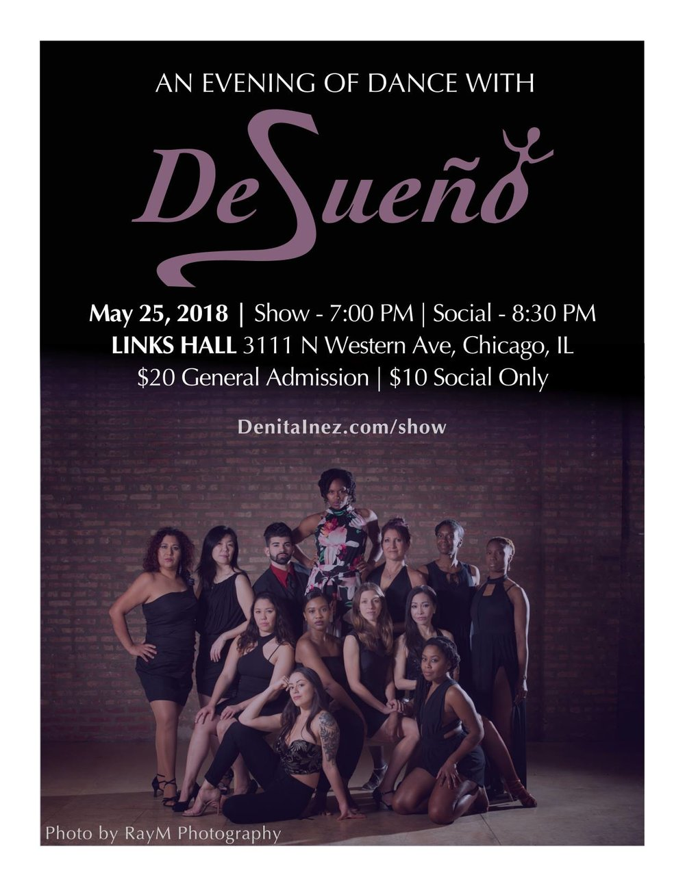 Ms. Gabriela:  Desueño Dance presents an evening of choreography featuring Desueño Vision, a Latin Jazz ensemble, and Desueño Latin. The performance showcases current Desueño repertoire. Afterwards there will be social dancing with Salsa, Bachata, and ChaCha. -