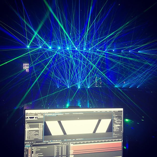 A year ago we were doing some video content work for @enriqueiglesias while getting a laser show at rehearsals #bts