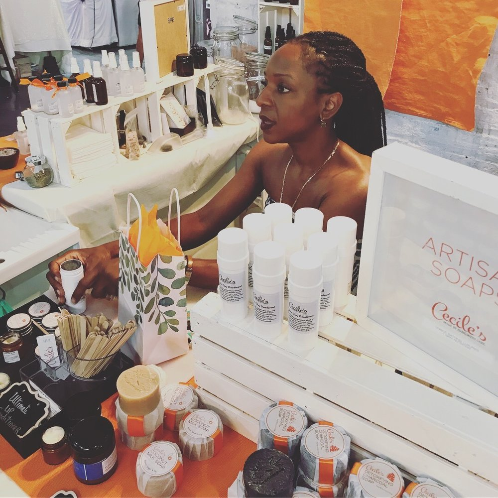 "Visit Melanger, Cecile's custom blend bar and get your own customized shea butter whip, scrub, or soap!  New products have launched as well since the winter pop up, including mists, scents, and ""Today's Blend"" - a customer creation available each weekend Cecile's is at Artists & Fleas!"