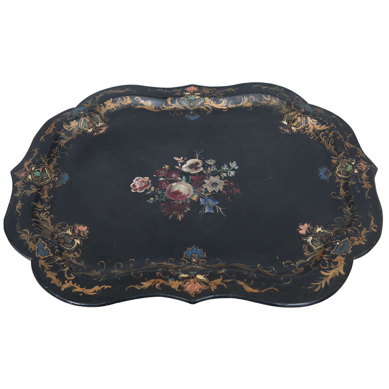 English Victorian Hand Painted Paper Mâché Tray Jefferson West Inc