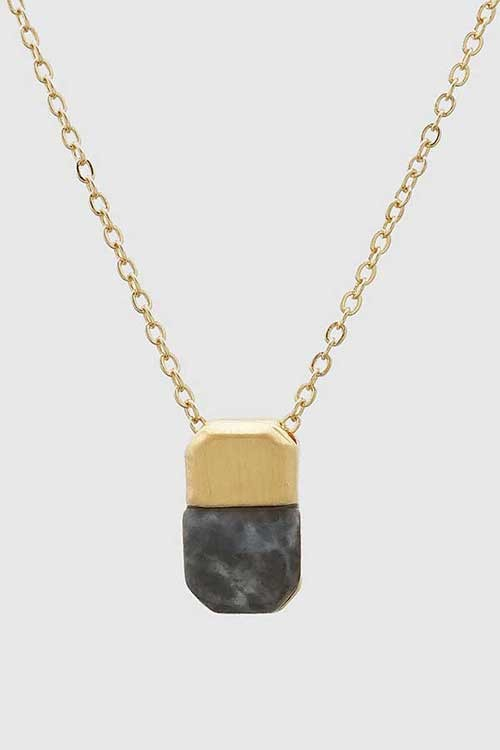 Gold stone pendant necklace frock shop gold stone pendant necklace aloadofball Image collections