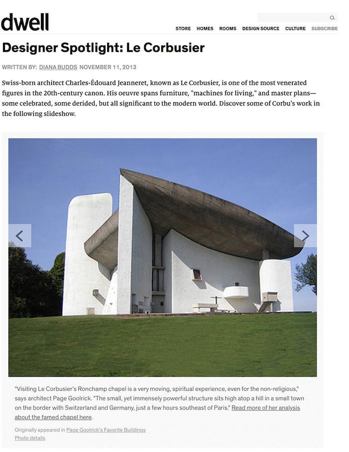 <html>Dwell<p>Designer Spotlight: Le Corbusier</html>