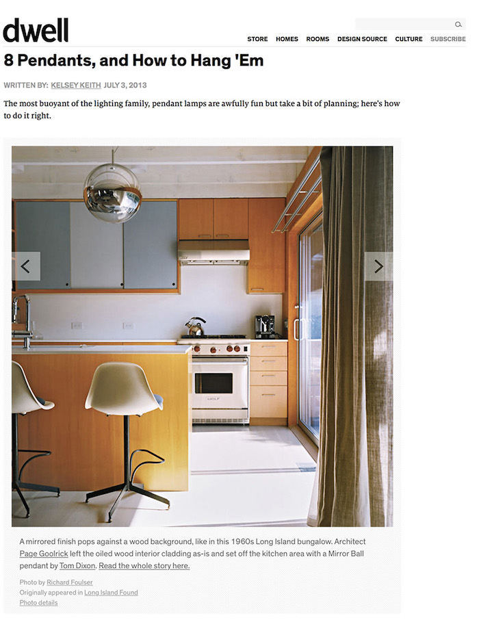 <html>Dwell<p>8 Pendants and How to Hang 'Em</html>