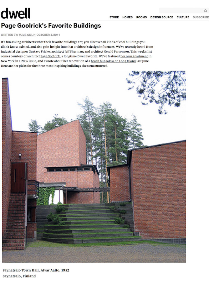 <html>Dwell<p>Page Goolrick's Favorite Buildings</html>
